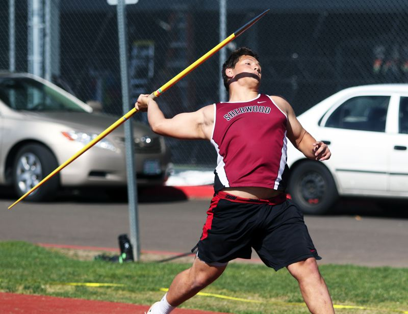 PMG PHOTO: DAN BROOD - Sherwood High School sophomore Bryan Cuthbertson was second in the javelin at last week's dual meet with a personal-best mark of 182 feet, 5 inches.