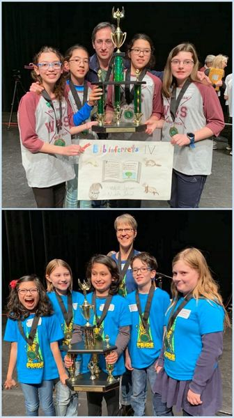 PHOTOS COURTESY OF PPS - West Sylvan Middle School students (top) and James John Elementary School students (bottom) won state titles in the 2019 Oregon Battle of the Books competition.