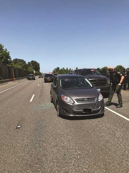 COURTESY PHOTO: MCSO - Marion County Sheriff's Deputies pursued Reynaldo Williams, 38, of Portland from Woodburn to south Salem, where his vehicle was disabled in the center lane of Interstate 5 southbound near Highway 22.