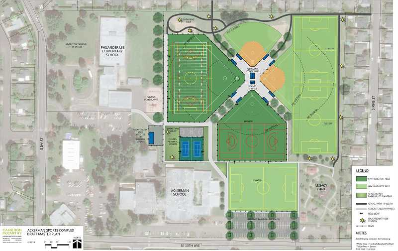 COURTESY PHOTO: CITY OF CANBY - Pictured is the current master plan for the Ackerman Sports Complex, presented at the May 1 City Council meeting.