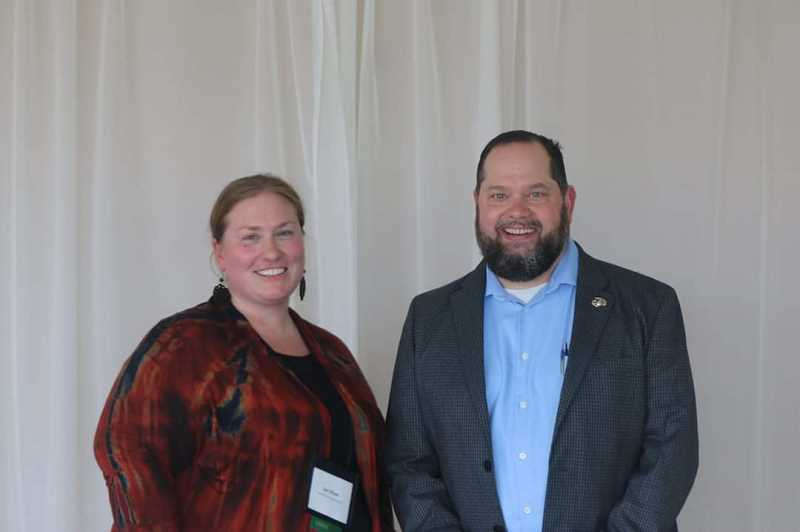 COURTESY PHOTO: JAN OLSON - Molalla River/Colton School District nurse Jan Olson poses for a photo with MRSD Supported Education Director Michael Salitore.