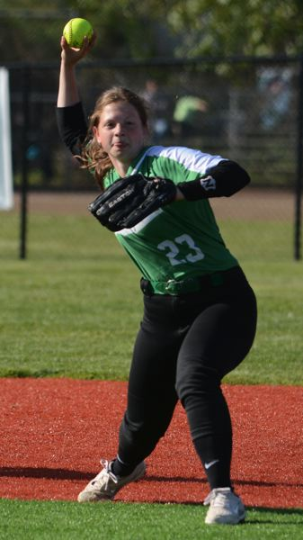 PMG PHOTO: DAVID BALL - Estacada infielder Trinity Murin makes a throw for an out at first base during the Rangers 14-4 home win over North Marion last Thursday.