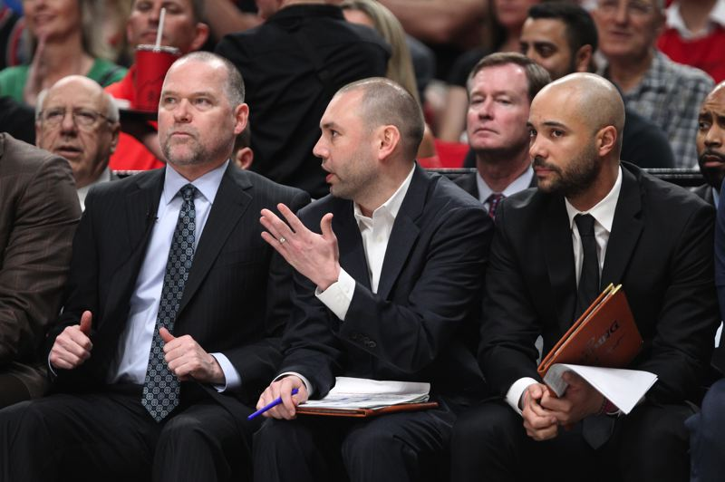 PMG PHOTO: JAIME VALDEZ - Denver Nuggets assistant coach David Adelman (center) makes an observation to head coach Michael Malone (left) during Game 4 of the playoff series with the Trail Blazers.