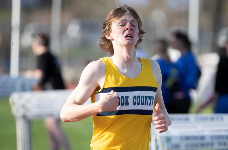 LON AUSTIN/CENTRAL OREGONIAN - Miles Chaney ran a personal best time of 2:04.15 on Friday at the Wally Ciochetti Invitational in Cottage Grove. The time was good for fourth place overall, helping the Cowboys to a first place finish in the meet.