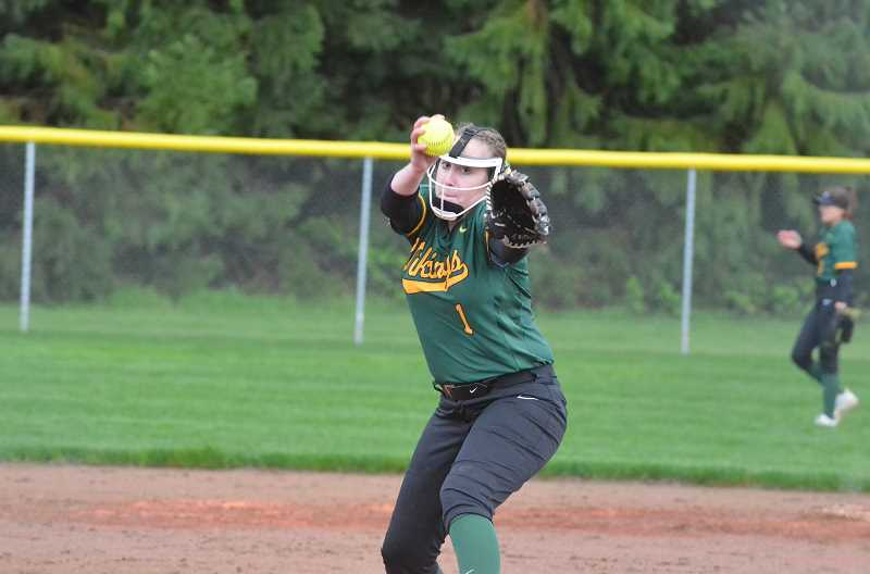 PMG FILE PHOTO: TANNER RUSS - Colton pitcher Katelyn Dutton warms up against Kennedy.