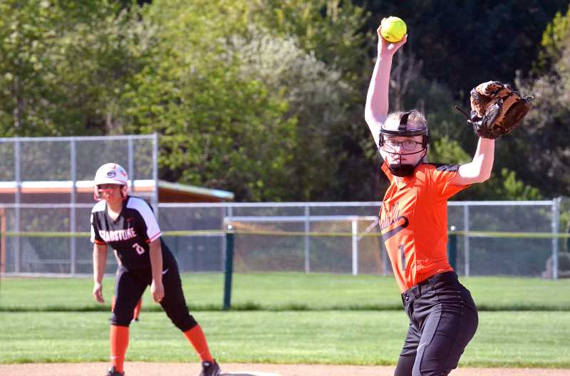 PMG FILE PHOTO: TANNER RUSS - Molalla's Grace Nelzen winds up for a pitch.