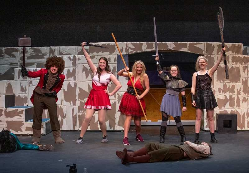 """PMG PHOTO: JONATHAN HOUSE - From left, Noah Hansen (playing Orcas), Abi Edwards (Agnes), Kaiya Shivers (Kaliope), Samantha Katz (Tilly) and Natalie Young (Lillith) star in """"She Kills Monsters."""""""