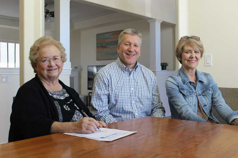 PMG PHOTO: COREY BUCHANAN - From left: Doris Wehler, Scott Starr and Debi Laue are organizing a petition to establish term limits for Wilsonville councilors.