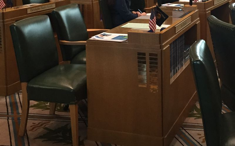 PMG FILE PHOTO - Chairs were empty Tuesday, May 7, in the Oregon State Senate as Republican lawmakers left the Capitol to avoid a vote on a business tax bill to provide funding for schools.