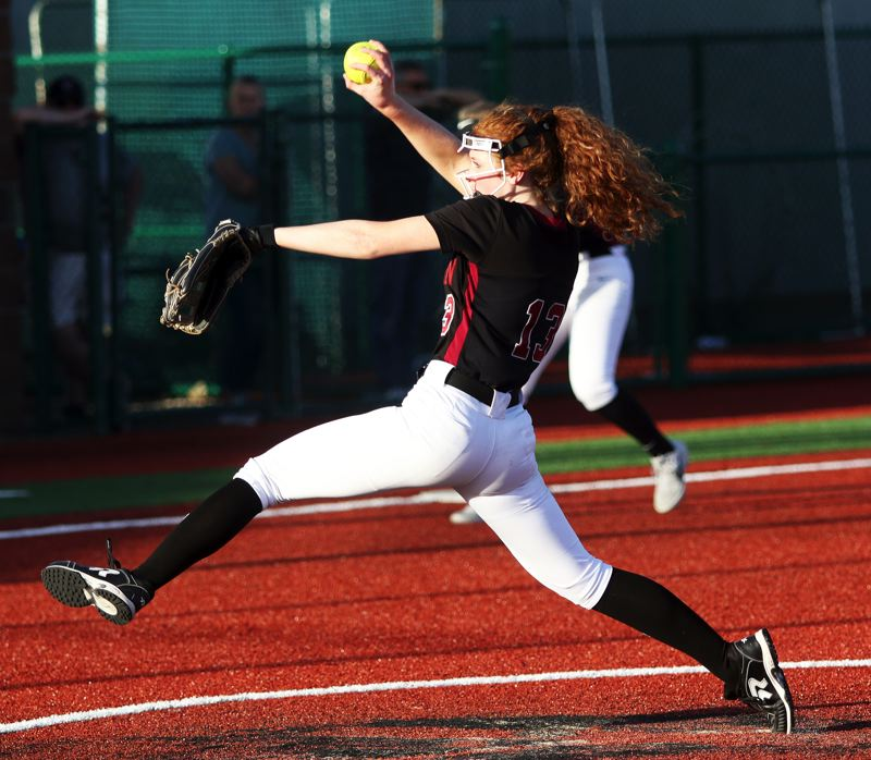 PMG PHOTO: DAN BROOD - Tualatin freshman Camille Schmitz threw seven strong innings of relief for the Wolves during Monday's game with Tigard.