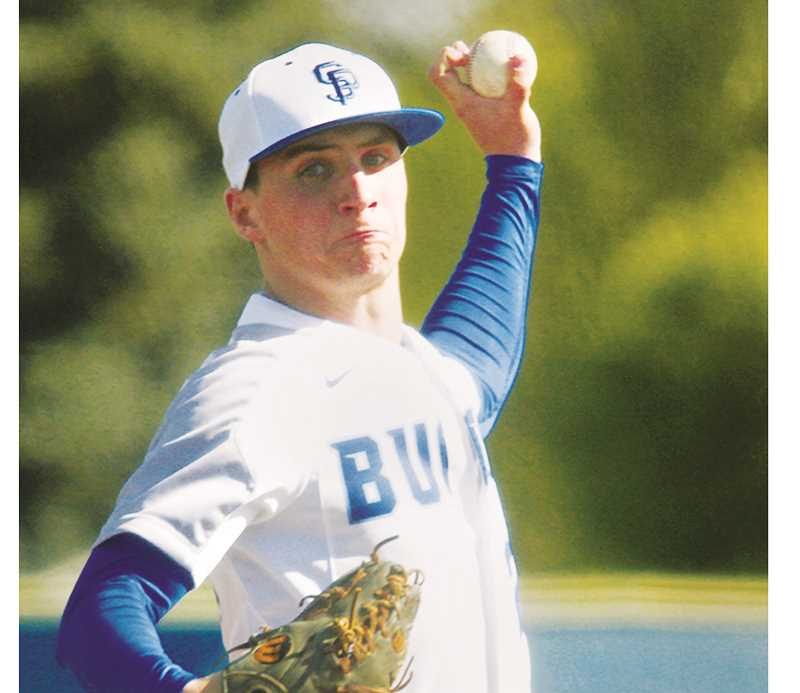 WOODBURN INDEPENDENT PHOTO: PHIL HAWKINS - St. Paul senior Justin Herberger struck out five in four innings in the Bucks' 11-2 win over Neah-Kah-Nie on April 30.