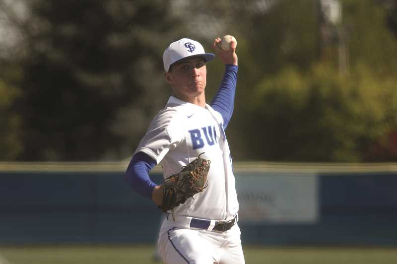 PMG PHOTO: PHIL HAWKINS - St. Paul senior Justin Herberger struck out five in four innings in the Bucks 11-2 win over Neah-Kah-Nie on April 30.