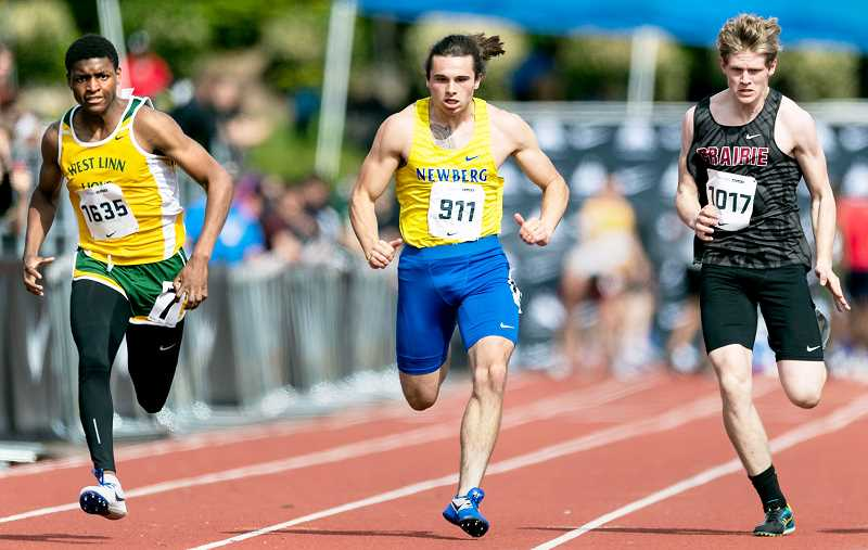 PMG PHOTO - Senior sprinter Matthew Larson finished 30th in the 100 with a time of 11.64 seconds.