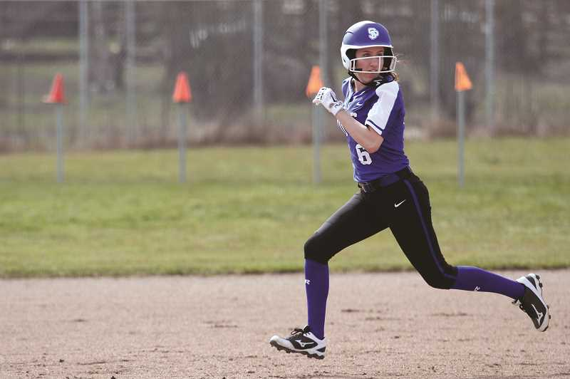 PMG PHOTO: PHIL HAWKINS - St. Paul senior Sadie Smith set a program record with six RBIs in the Buckaroos 15-4 win over Neah-Kah-Nie on April 30. Smith and teammate Rachel Vela combined to hit back-to-back home runs in the fourth inning.