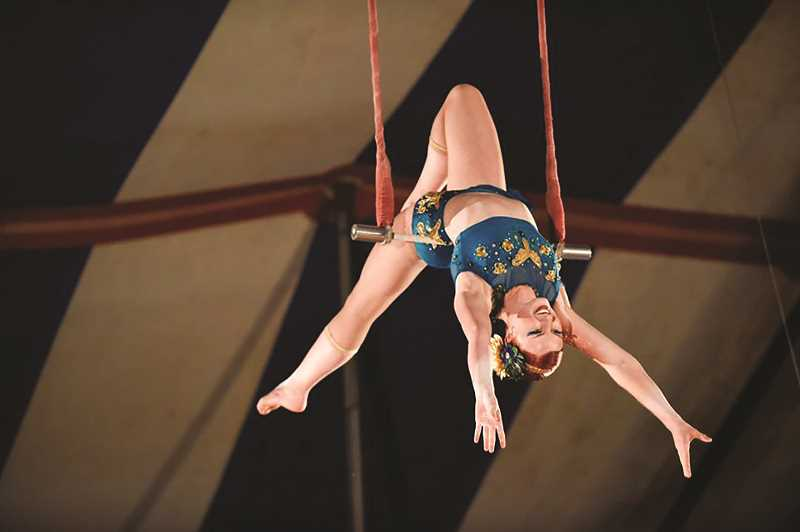 COURTESY PHOTO: LACEY TERRELL - Trapeze artist Simone is a 13-year veteran of aerial performances, and is one of many acts at the Culpepper & Merriweather Circus coming to Gervais on May 23.