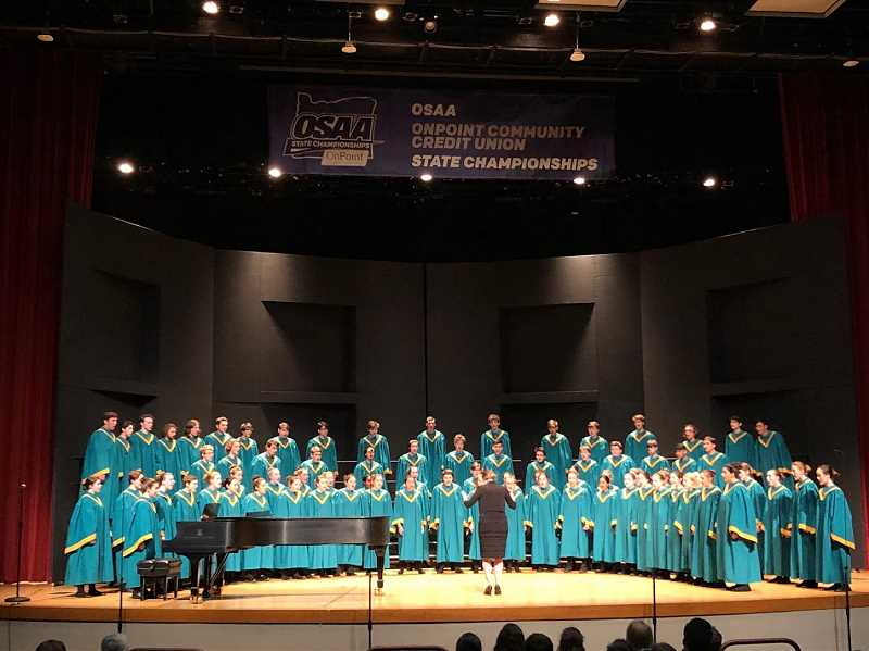 COURTESY PHOTO - The West Linn High School Symphonic Choir performs at the state championships.