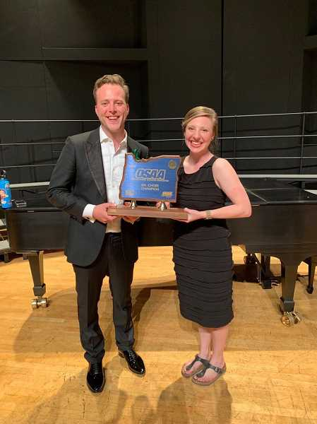 COURTESY PHOTO - Aubrey Patterson, right, and Will McLean, director of South Salem choirs, share the first place spot for the state championship.