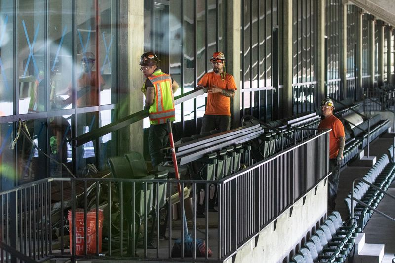 PMG PHOTO: JONATHAN HOUSE - Crews are wrapping up work on teh project, in preparation for the stadium's June 1 opening day. At the peak, 225 workers were involved in the project, and 63 Portland firms held major contracts.