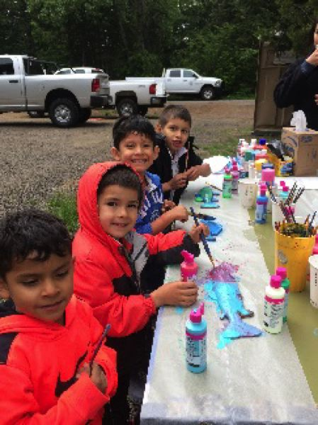 COURTESY PHOTO: MT. HOOD NATIONAL FOREST - Children take part in an arts-and-crafts project while attending the free fishing clinic.