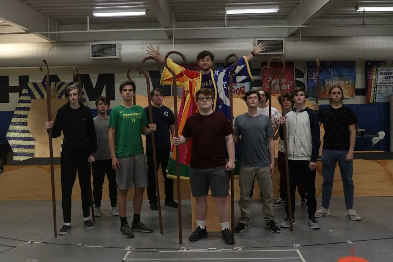 COURTESY PHOTO: SARA DEMPSEY/GRESHAM HIGH SCHOOL  - While Gresham High School is under construction, the cast of Joseph and the Amazing Technicolor Dreamcoat has rehearsed in the schools wresting mat room.