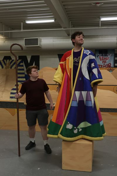 COURTESY PHOTO: SARA DEMPSEY/GRESHAM HIGH SCHOOL  - Gresham High School senior Troy Chittock, who plays the titular Joseph, models the amazing technicolor dreamcoat that demonstrates the biblical productions ethereal pizazz.