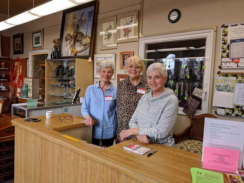 Lakewood Center Associates members Joanne Sedleniek, Nancy McEwan and Linda Dunn pose at the counter in the Re-Runs Thrift Shop.