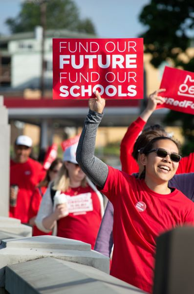 PMG PHOTO: CLARA HOWELL - Teachers in West Linn and Lake Oswego rallied to support school funding.