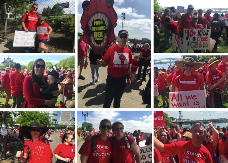 PMG PHOTOS: ZANE SPARLING - Educators from across the region marched in downtown Portland on Wednesday, May 8 during a rally for increased education funding.