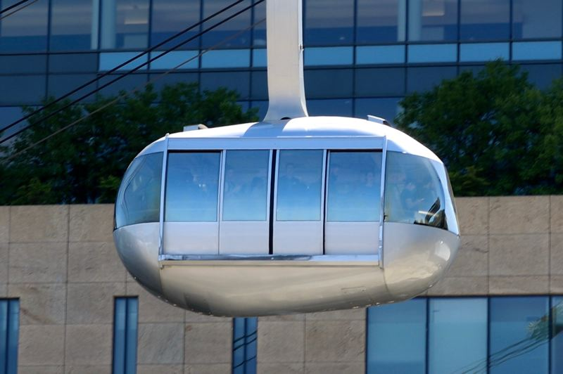 PMG PHOTO: ZANE SPARLING - The Portland Aerial Tram is shown here descending to the South Waterfront.