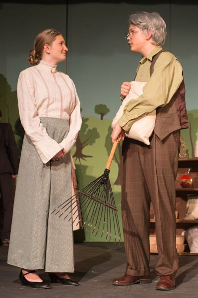 COURTESY PHOTO: JENNIFER JOHNSON - LOJ students Kate Johnson (as Rachel Lynde) and Sam Aisner (as Matthew Cuthbert) rehearse Anne of Green Gables.