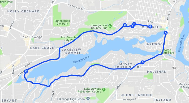 COURTESY PHOTO: GOOGLE MAPS - The 2019 Lake Run 10k race route.