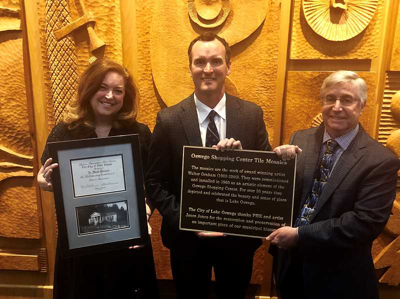 COURTESY OF OSWEGO HERITAGE COUNCIL  - OHC Executive Director Nancy Niland (left) Pat Kessi of PHK Development and City Planner Paul Espe pose with the awards handed down from HRAB at Tuesday's City Council meeting.