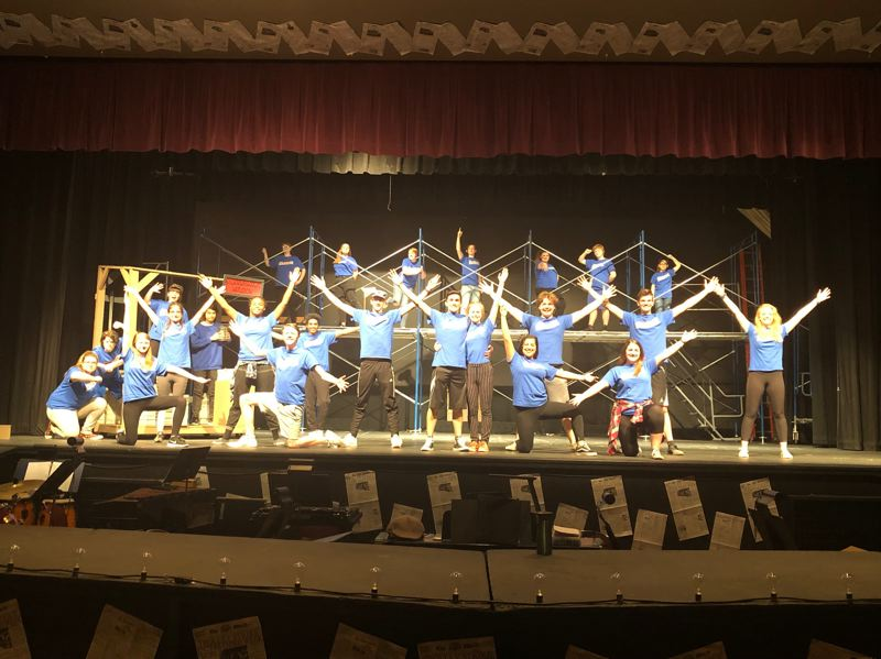 COURTESY PHOTO: KELLIE MCCARTY - The Centennial cast reahearses the Newsies finale in preparation for the opening show on Thursday, May 9, at the CHS Auditorium.
