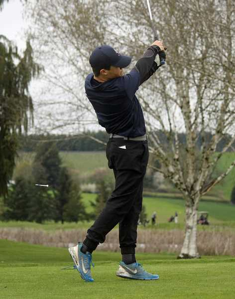 COURTESY PHOTO - Banks' Aaron Brown takes a swing during one of the Braves' matches earlier this season at Quail Valley Golf Course.