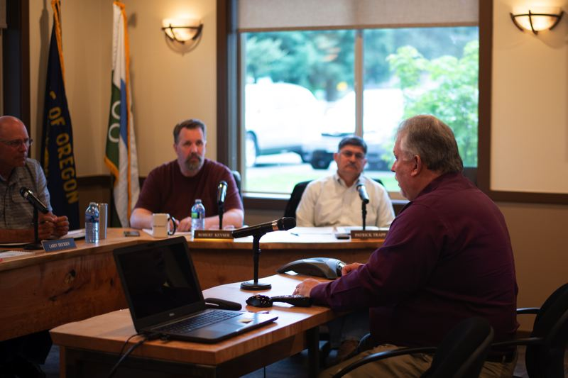 PMG PHOTO: ANNA DEL SAVIO - Vee Godley, president of Northwest Innovation Works, appeared in front of the Port Commission on May 8 to explain the company's reasoning behind moving its option agreement to a different parcel of port property.