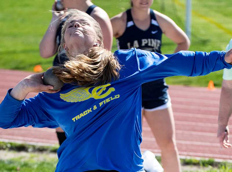 LON AUSTIN/CENTRAL OREGONIAN - Kenna Woodward won both the shot put and discus at the Frontier Meet, which was held Wednesday afternoon in Scappoose. She is shown here throwing the shot at a home meet earlier this year.