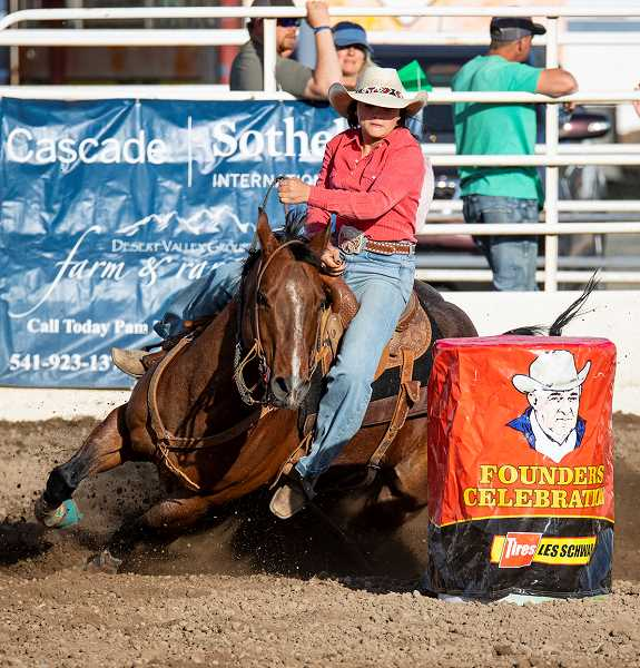LON AUSTIN/CENTRAL OREGONIAN - Gracie Garthwaite placed 10th on Friday and second on Saturday in barrel racing with times of 18.439 and 17.991, respectively.