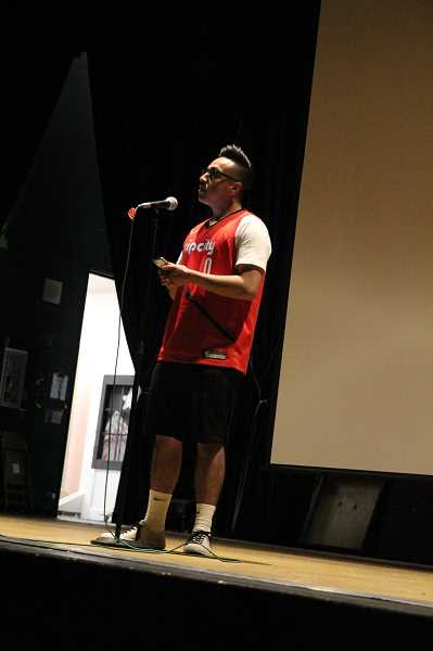 PMG PHOTO: JUSTIN MUCH - Alejandro Bravo Canchola shares poetic thoughts of reflection on when he was 11 years old and his niece passed away. Woodburn High School students write, orate from the heart when the took part in a poetry workshop May 9-10.