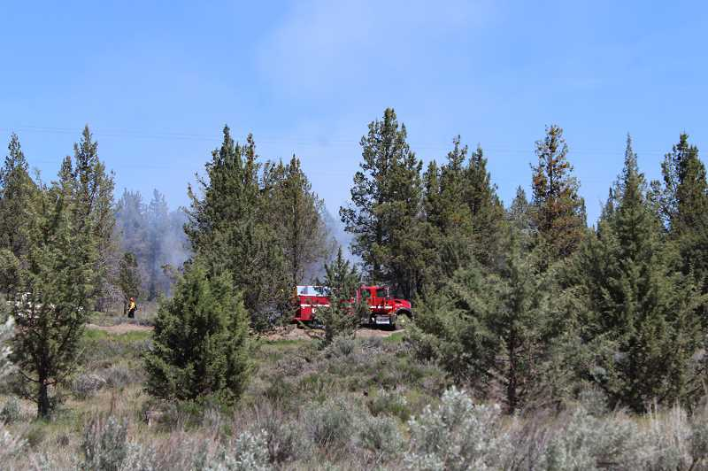 HOLLY SCHOLZ/CENTRAL OREGONIAN - Crook County Fire and Rescue and Crook County Sheriff's Office responded to a brush fire near Ochoco West Friday afternoon. No homes were in danger.