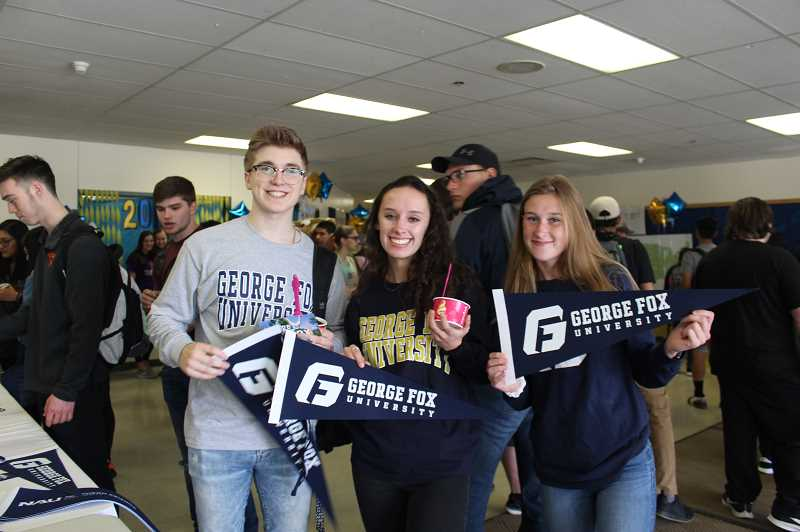 KRISTEN WOHLERS - (L-R) Tyler Newkirk, Jennah Morris and Claire Wright will all attend George Fox University in the fall.