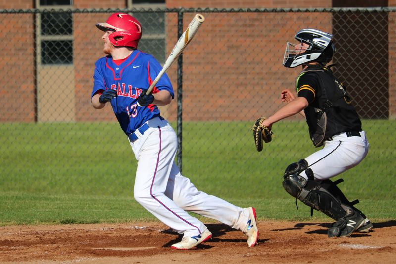 PMG PHOTO: JIM BESEDA - La Salle Prep's Spencer Paugh (13) went 2 for 2 with an RBI-double and scored twice -- all during an eight-run second inning that helped lift the Falcons to a 14-1 home win Friday over St. Helens.