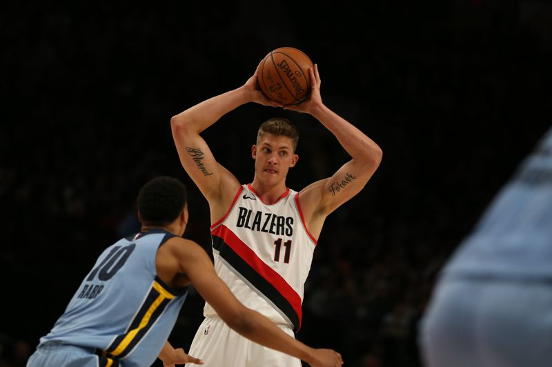 PMG PHOTO: CHRISTOPHER OERTELL - Meyers Leonard, who hopes to stick with the Trail Blazers, says he's proud of coming through adversity a better, stronger, healthier and more confident player who also has his values in order.  'I'm at such a different place now, and I'm thankful I came out the other side,' he says.
