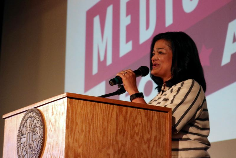 PMG PHOTO: ZANE SPARLING - Rep. Pramila Jayapal, D-Washington, speaks to a crowd about her Medicare for All proposal in Portland on Saturday, May 11.