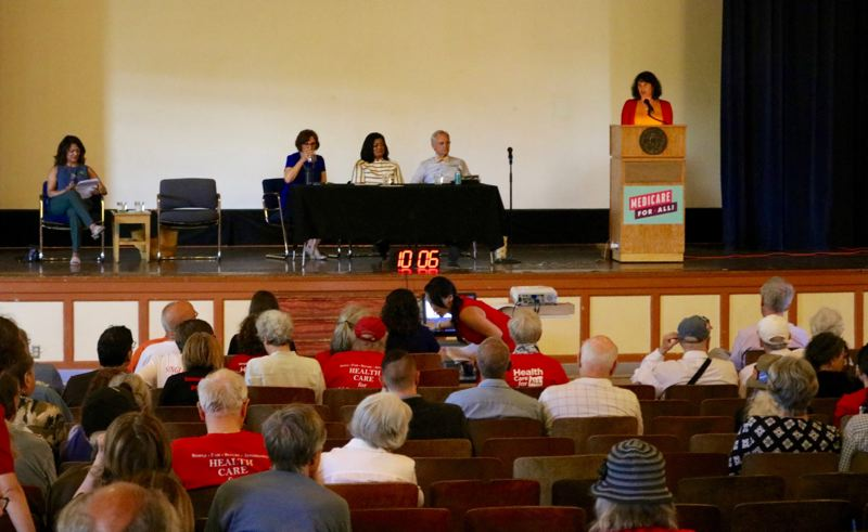 PMG PHOTO: ZANE SPARLING - A Medicare for All event was held at Benson Polytechnic High School on Saturday, May 11 in Portland.