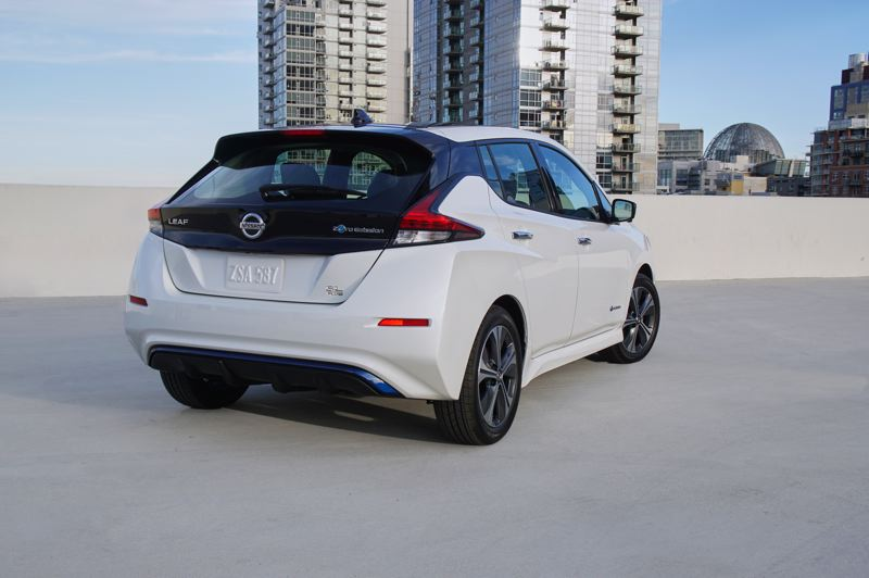 COURTESY NISSAN - Even when viewed from the back, the 2019 Nissan Leaf Plus is conventionally-styled compared to the first-generation.