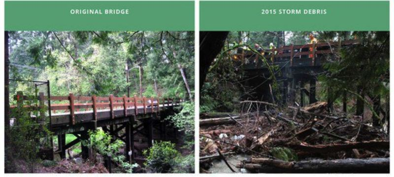 COURTESY PBOT - The Portland Bureau of Transportation released this graphic showing the flood damage to the Southeast 122nd Avenue bridge in December, 2015.