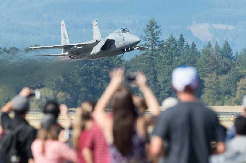 PMG PHOTO: CHRISTOPHER OERTELL - An Oregon Air National Guard F-15 takes off during the Oregon International Airshow at Hillsboro Airport in 2017.