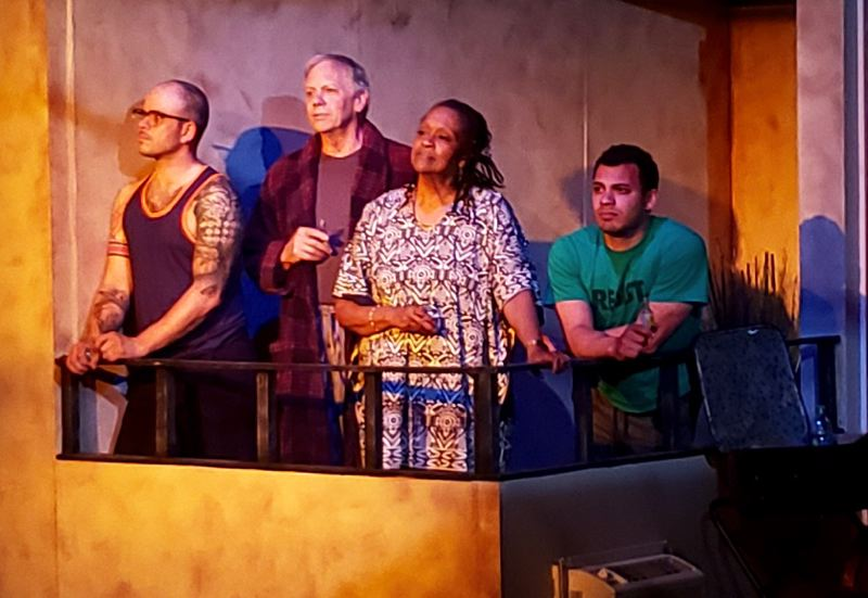 PHOTO BY DANIELLE WEATHERS - Chapel Theatre Collective presents 'Curve of Departure' at 7:30 p.m. on May 16, 17, 18, 22, 23, 24 and 25 and at 2 p.m. on May 19 at Chapel Theatre, 4107 S.E. Harrison St., Milwaukie. Pictured above, from left to right, are cast members Illya deTorres, Dennis Fitzpatrick, Shelley B. Shelley and Blake Stone.