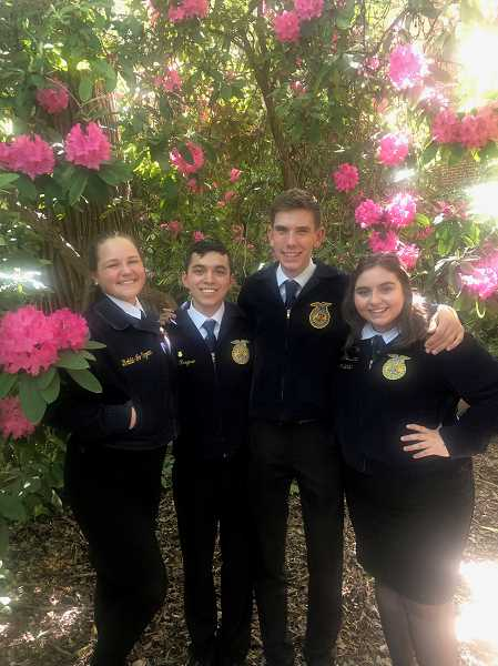 COURTESY PHOTO: MACKENZIE BEHRLE - The members of the Ag Communications team are from left to right: Dominica Burkhoff, David Fregoso, Clay Sperl and Natalee Litchfield.