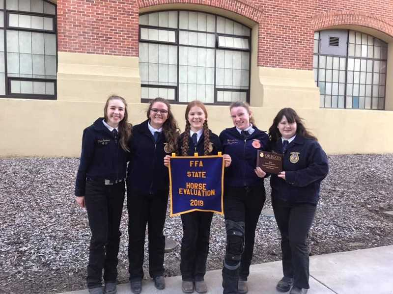 COURTESY PHOTO: MACKENZIE BEHRLE - The horse judging first-in-state team is composed of Kelsey Morgan, Kylene Eaglebear, Shelby Nunn, Chloe Corless and Emma King.